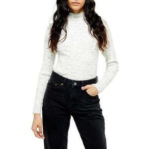 TOPSHOP Marled Ribbed Funnel Neck Sweater 12 L NWT